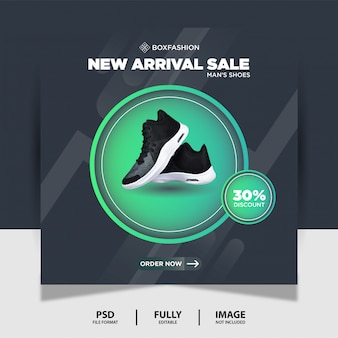 Color gris oscuro zapatos deportivos marca producto social media post banner