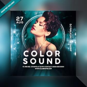 Color suena flyer de fiesta