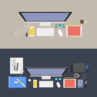 Colorato luoghi di lavoro di progettazione