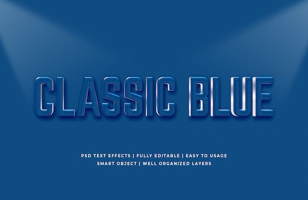 Colore blu classico dell'anno effetto testo 2020