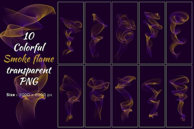 Colorida colección smoke flame transparent