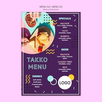 Colorido menú de comida restaurante mexicano