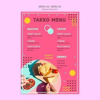 Colorido menú de restaurante mexicano