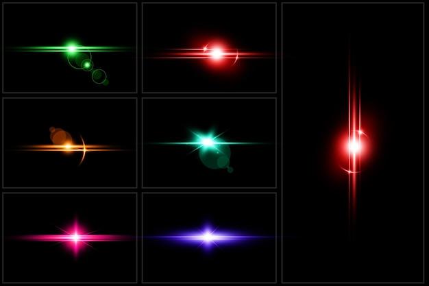 Coloridos destellos de lente digital establecen luz de lente aislada