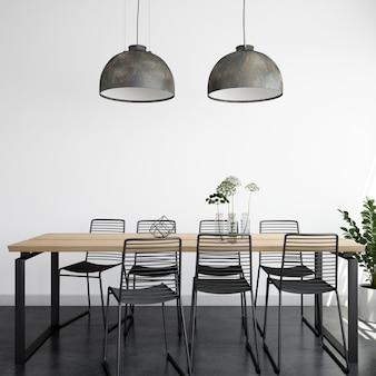 Comedor moderno, luminoso y realista con mesa y sillas de madera