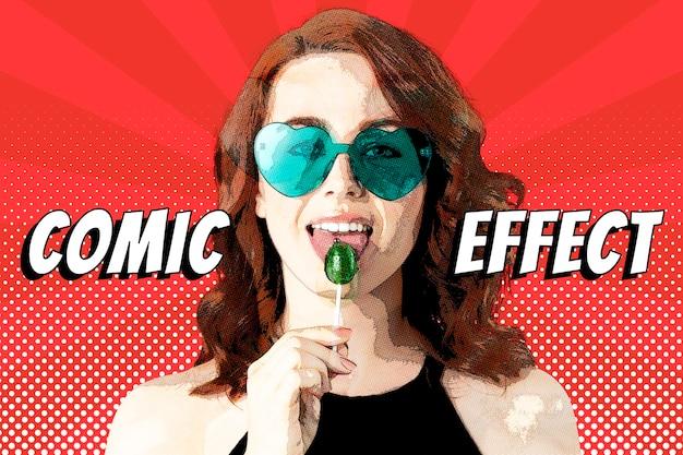Comic effect psd pop-art photoshop add-on in halftoonstijl