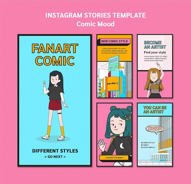 Comic ontwerp instagram verhalen sjabloon
