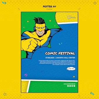 Comic poster sjabloon thema