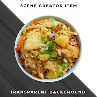 Comida asiática en plato psd transparente