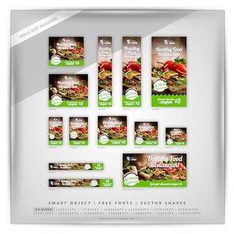 Comida y restaurante google banner set