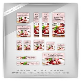 Comida saludable restaurante google banner set