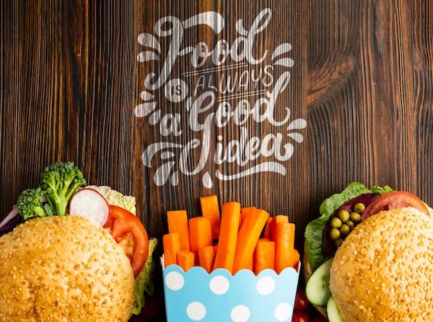 La comida siempre es una buena idea, comida rápida hecha de verduras