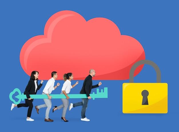 Commercieel team met internetbeveiliging