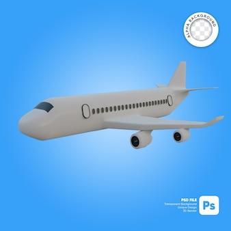 Commercieel vliegtuig zijaanzicht tijdens de vlucht 3d-object