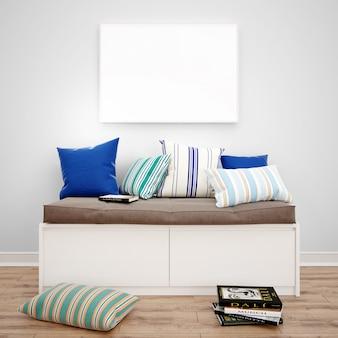 Cómoda de asiento con cojines y maqueta de marco de fotos, ideas de diseño de interiores