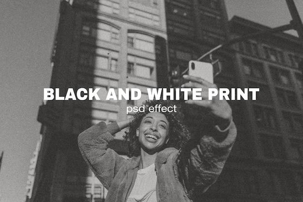 Complemento de photoshop de efecto psd de impresión en blanco y negro