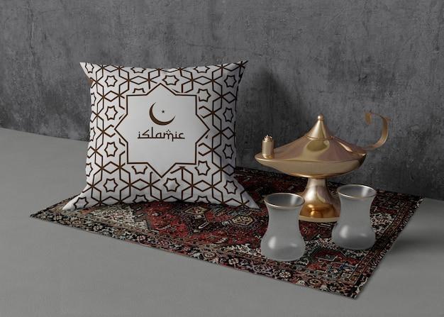 Composición creativa de diferentes elementos del ramadán.