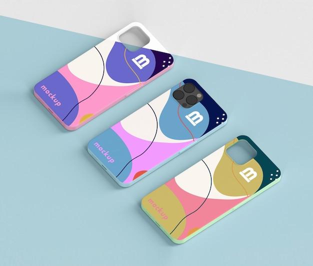 Composición creativa de la maqueta de la caja del teléfono.