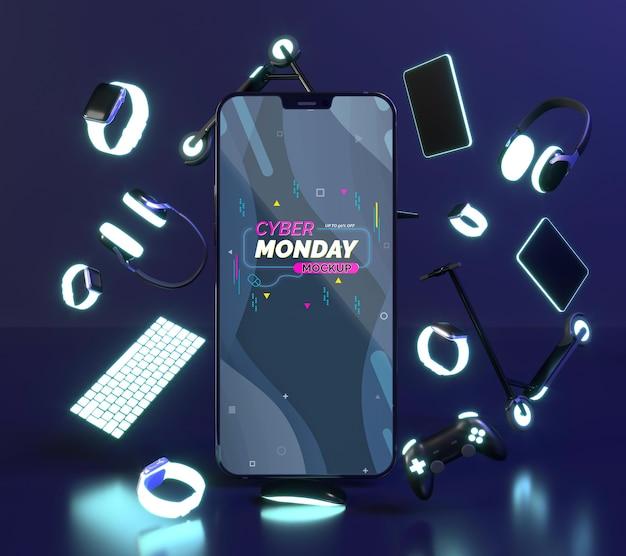 Composición de cyber monday con maqueta de teléfono