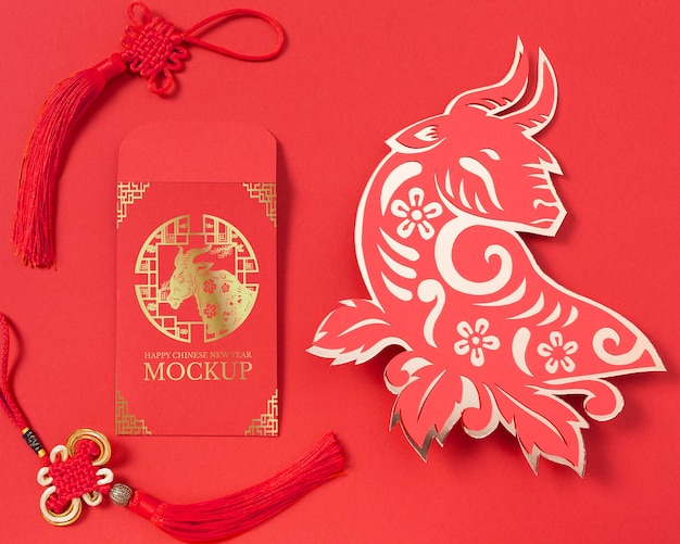 Composición de elementos de año nuevo chino
