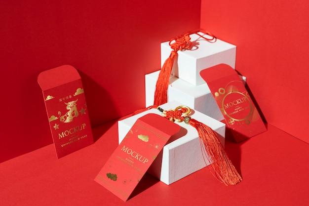 Composición de elementos de maqueta de año nuevo chino.