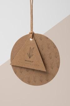Composición de la etiqueta de cartón de maqueta