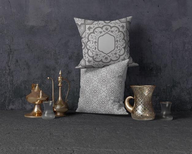 Composición festiva del ramadán con almohadas
