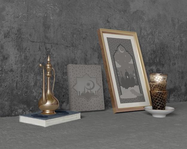 Composición festiva del ramadán sobre cemento