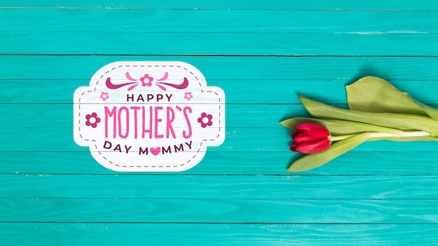 Composición flat lay para el día de la madre con copyspace para logo