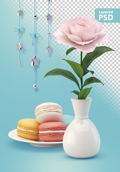 Composición con galletas de flores y decoraciones colgantes