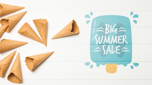 Composición de helado de verano con copyspace