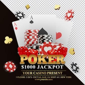 Composición de imagen de render 3d de torneo de póquer