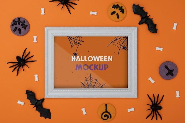 Composición de maqueta de borde de halloween