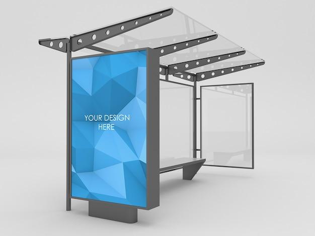 Composición de maqueta de caja de luz de parada de autobús negro