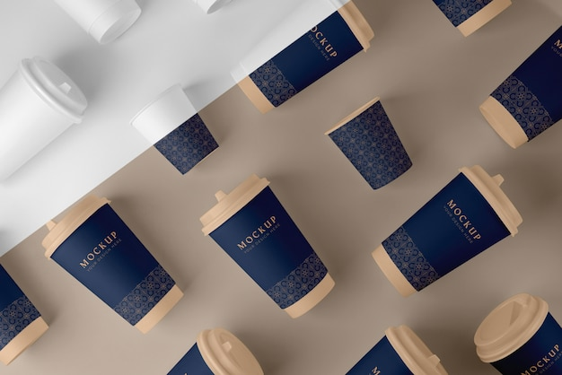 Composición de la maqueta de elementos de cafetería.