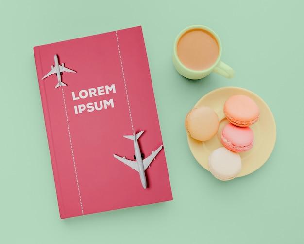 Composición de maqueta de portada de libro plano