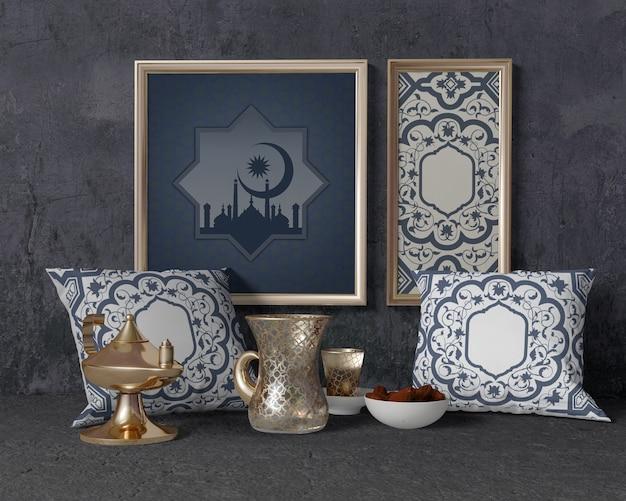 Composición de ramadán con marco y almohadas