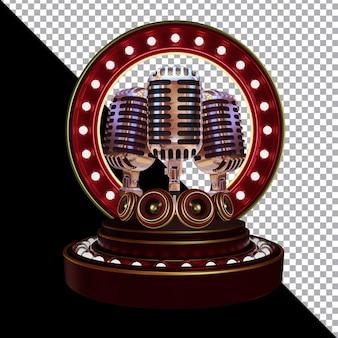 Composición de render 3d karaoke aislado