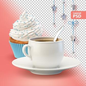Composición con taza de café con leche y cupcake