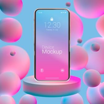 Composición de teléfono de maqueta con líquidos abstractos