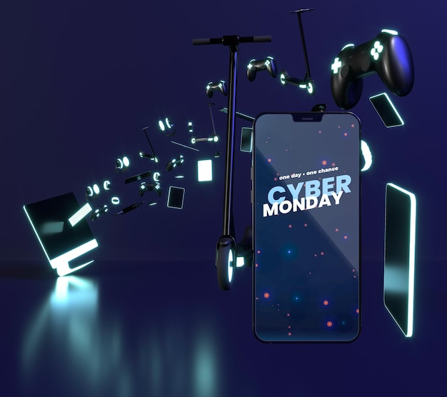 Composición de venta de cyber monday con maqueta de teléfono inteligente