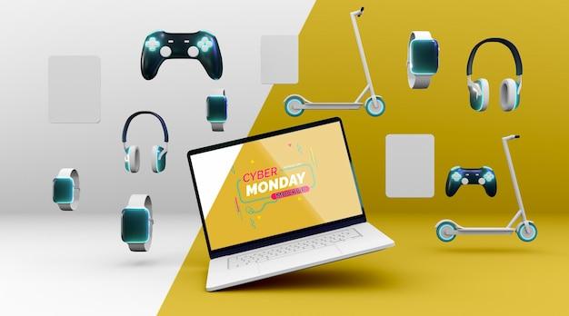 Composición de venta de cyber monday con nueva maqueta de portátil