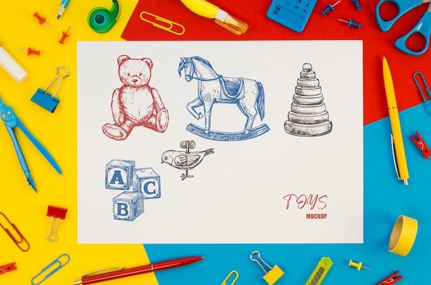 Composición de la vista superior con maqueta de tarjeta en colores de fondo