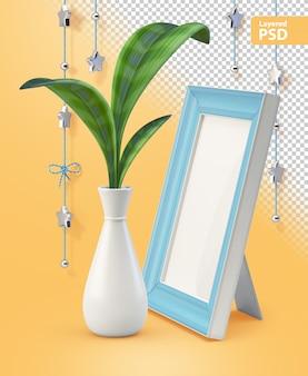 Compositie met groene plant en fotolijst