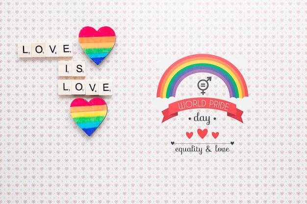 Composizione di orgoglio lgbt piatto con copyspace