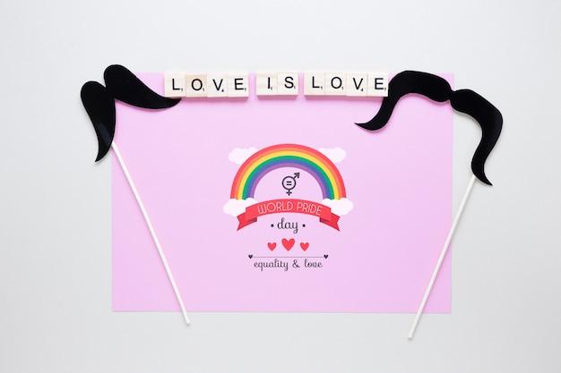 Composizione di orgoglio lgbt piatto con modello di carta
