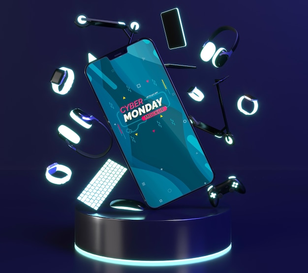 Composizione di vendita di cyber lunedì con mock-up del telefono