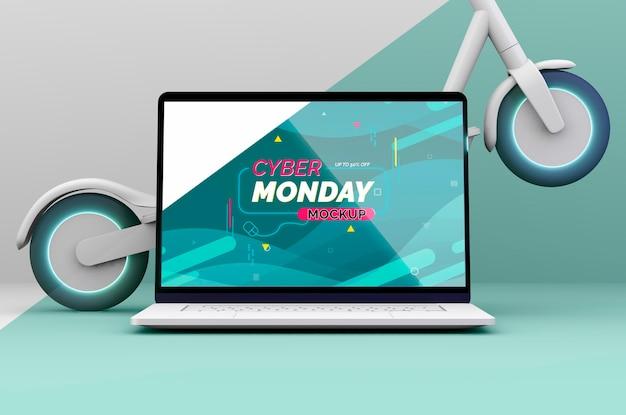 Composizione di vendita di cyber lunedì con mock-up di laptop