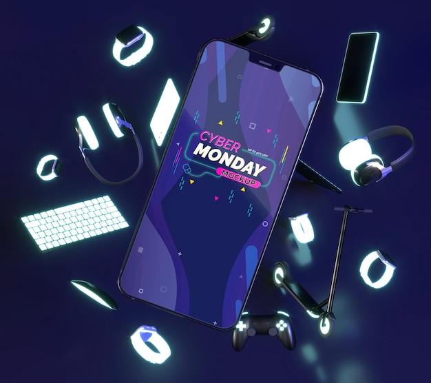 Composizione di vendita di cyber lunedì con mock-up di telefono cellulare