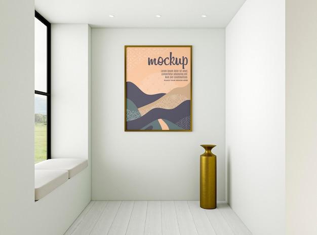 Composizione interna minimalista con cornice mock-up